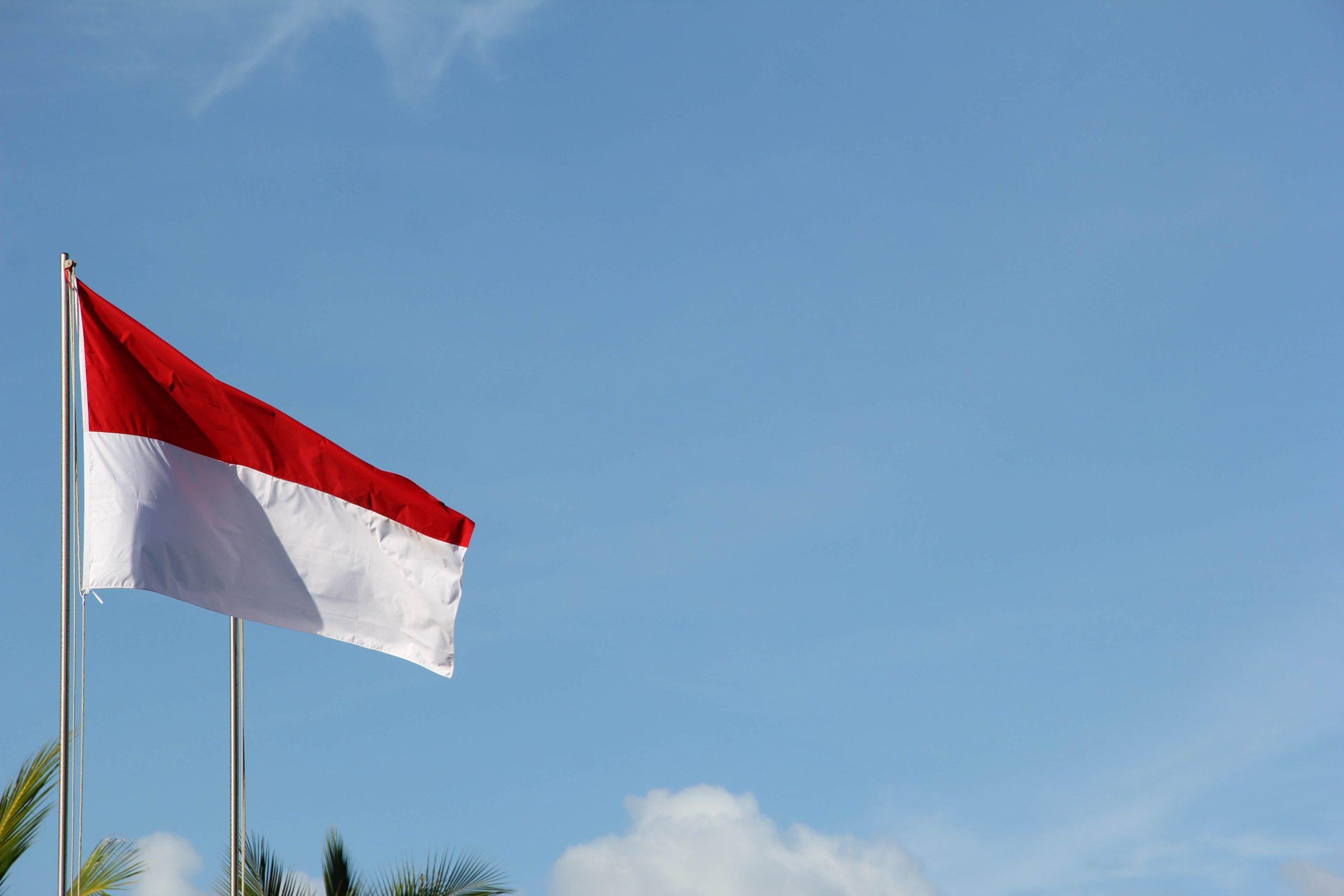 インドネシア国旗と青空